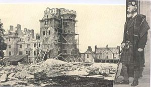 Beaufort Castle, Scotland - Beaufort Castle under construction in the late 1870s - the 13th Lord Lovat is shown at right