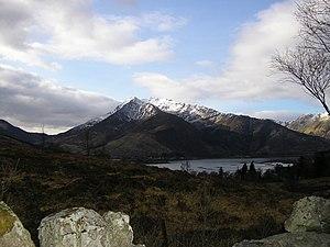 Beinn a' Bheithir - Beinn a' Bheithir seen from the slopes of Mam na Gualainn, across Loch Leven. Sgorr Dhearg is the left-hand peak.