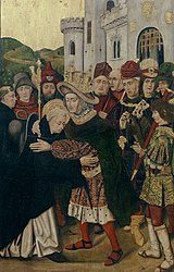 Bartolomé Bermejo: Ferdinand I of Castile welcoming Saint Dominic of Silos