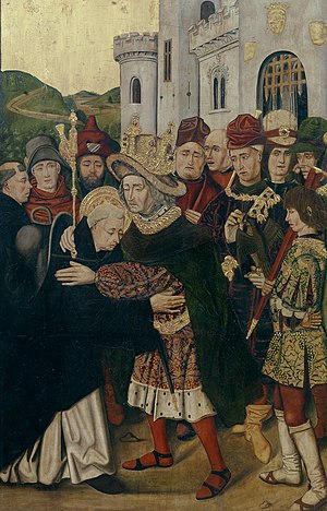 Dominic of Silos - Ferdinand welcomes Domingo de Silos by Martín Bernat and  Bartolomé Bermejo, 1477-79