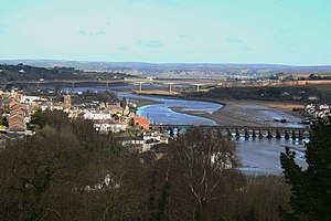 River Torridge - Bridges over River Torridge at Bideford looking downstream from Upcott Hill