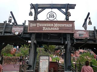Big Thunder Mountain Railroad indoor/outdoor mine train roller coaster type located in Frontierland at several Disneyland-style Disney Parks worldwide