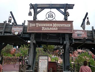 Big Thunder Mountain Railroad - Image: Big Thunder Mountain Entrance Sign at Magic Kingdom
