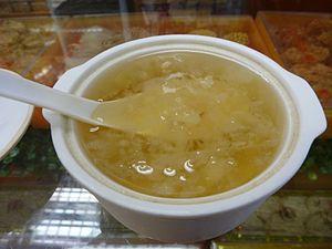 Edible bird's nest - A bowl of bird nest soup in Miri, Malaysia.