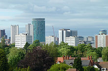 Birmingham Skyline from Edgbaston Cricket Ground crop