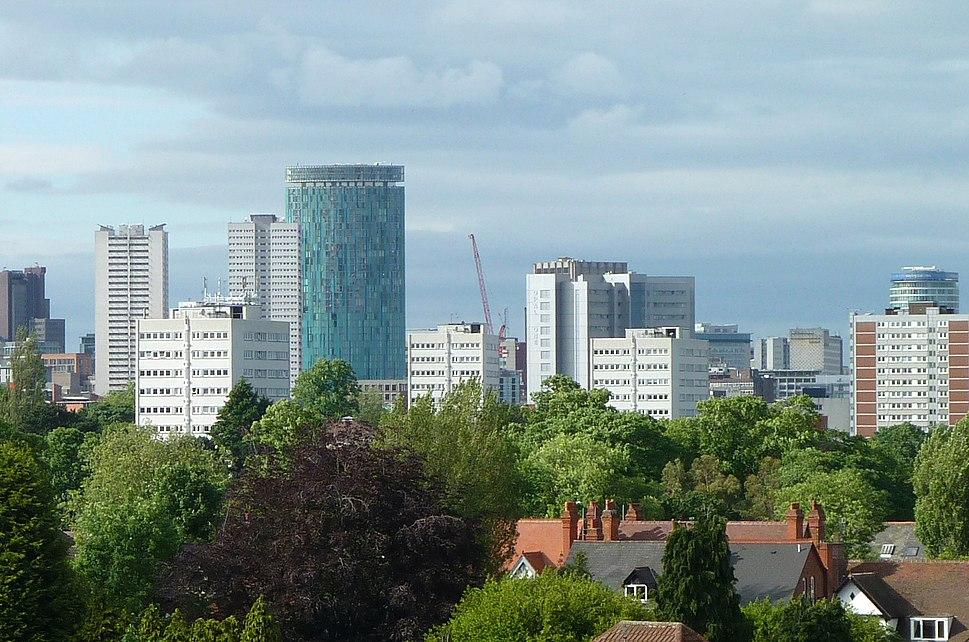 Birmingham Skyline from Edgbaston Cricket Ground crop