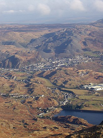 Blaenau Ffestiniog - Blaenau Ffestiniog, seen from Moelwyn Bach, showing the large waste heaps that dominate the town.