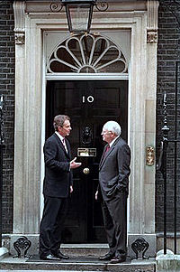 Prime Minister Tony Blair and U.S. Vice President Dick Cheney stand in front of the famous main door to Number 10. Hundreds of pictures like this one have been taken of Prime Ministers greeting other world leaders.