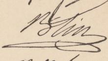 Signature de Blin écrite en lettres penchées à droite, d'une écriture ample et liée, avec soulignement en boucle allongée.