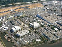 Overhead view of factory complex.