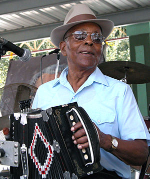 "Alphonse ""Bois Sec"" Ardoin - Bois Sec playing at the 2002 Festivals Acadiens in Lafayette, LA."