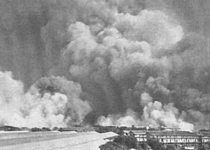 1944 Bombay explosion - Smoke billowing out of harbour