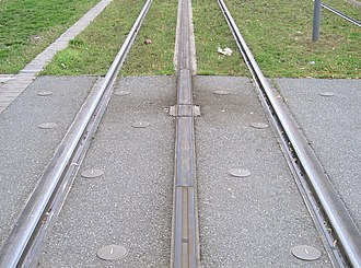Ground-level power supply - A section of APS track showing the neutral sections at the end of the powered segments plus one of the insulating joint boxes which mechanically and electrically join the APS rail segments
