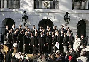2004 Boston Red Sox season - The Boston Red Sox are honored at the White House by President George W. Bush following the side's winning the 2004 World Series.