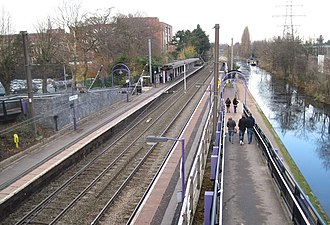 Bournville railway station - Bournville station looking north, alongside the Worcester and Birmingham Canal.
