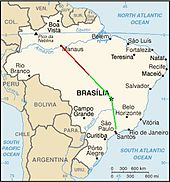 A map of Brazil with the approximate flight paths plotted on it in as red and green lines. The paths meet at the collision point, about half way between Brasilia and Manaus.