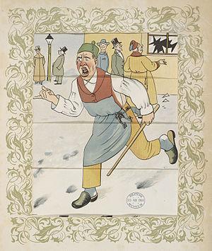 Lothar Meggendorfer - Breaking a shop window - The Tricks of Naughty Boys (1900), page 8b - BL