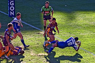 Referees must be well-sighted. Here a referee watches an attempt to score. Unsighted referees might consult with the video referee if needed. Brisbane Broncos vs Bulldogs 2.jpg