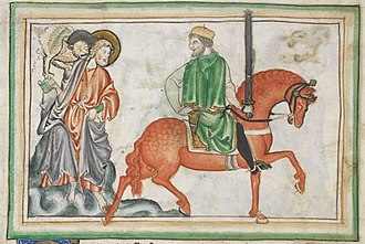 Four Horsemen of the Apocalypse - The second Horseman, War on the Red Horse as depicted in a thirteenth-century Apocalypse manuscript