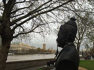 Basava - The bust of Basaveswara, unveiled in London in 2015, facing the UK Parliament