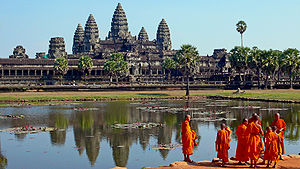 Buddhist monks in front of the Angkor Wat.jpg