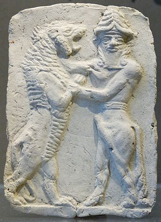 Master of Animals - Single bull-man wrestling with a lion, Mesopotamia, 3rd millennium BC