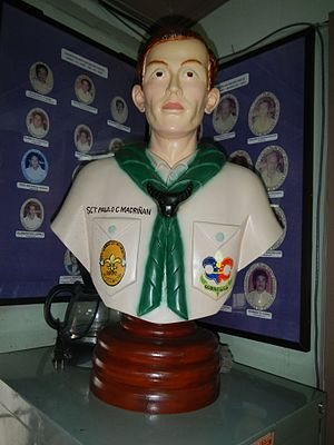 11th World Scout Jamboree Memorial Rotonda - Bust of Scout Madriñán in Paete, Laguna
