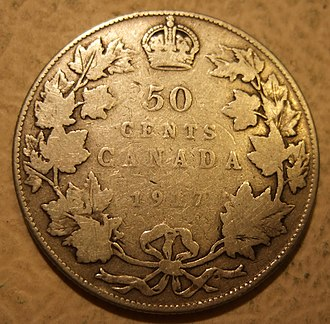 50-cent piece (Canadian coin) - A 1917 50-cent piece featuring King George V
