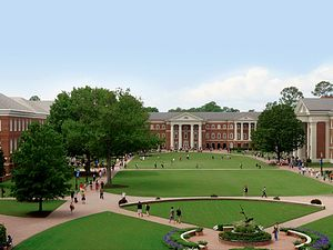 Christopher Newport University - The Great Lawn of Christopher Newport University, featuring the David Student Union and the McMurran and Forbes academic buildings.