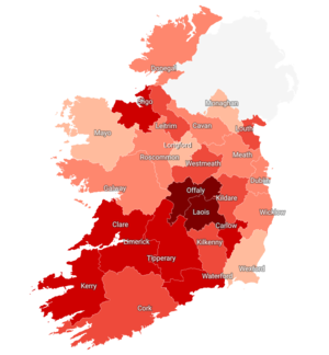 COVID-19 14-day incidence rate per 100,000 population in Ireland.png