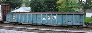 Gondola (rail) - A railroad gondola seen at Rochelle, Illinois