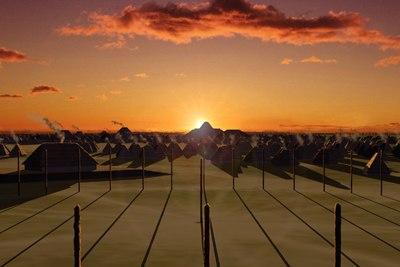 Cahokia winter solstice sunrise over Fox Mound HRoe 2017sm