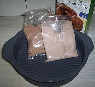 Baking mix - The contents of a chocolate cake baking mix