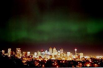 Calgary - Aurora beyond Calgary's downtown skyline