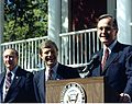 Campbell, Carroll 1986 campaign rally with V-P GHW Bush and Strom Thurmond.jpg