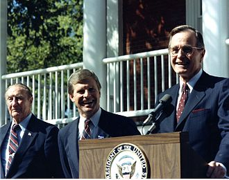 Thurmond and Vice President George H. W. Bush at a 1986 gubernatorial campaign rally for Congressman Carroll A. Campbell Jr. Campbell, Carroll 1986 campaign rally with V-P GHW Bush and Strom Thurmond.jpg