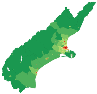 Canterbury, New Zealand -  A map showing population density in the Canterbury Region at the 2006 census