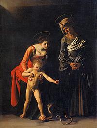 Παναγία με το φίδι, 1605-1606, 292x211 εκ., Πινακοθήκη Μποργκέζε, Ρώμη.