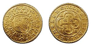 Charles II of Spain - Spanish gold coin minted in 1700, the last year of the reign of Charles II.