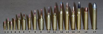 Cartridge (firearms) - A variety of rifle cartridges: (1).17 HM2 (2).17 HMR (3).22LR (4).22 Win Mag R/F.22 WMR (5).17/23 SMc (6)5mm/35 SMc (7).22 Hornet (8).223 Remington (9).223 WSSM (10).243 Win (11).243 Win Improved (Ackley) (12).25-06 Remington (13).270 Winchester (14).308 Win (15).30-06 Springfield (16).45-70 Government (17).50-90 Sharps