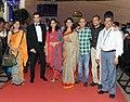 Cast & Crew of the Marathi film 'DR. PRAKASH BABA AMTE' Nana Patekar, Sonali Kulkarni, Rohit Roy, Director Samruddhi Porey, on the Red Carpet, during the 45th International Film Festival of India (IFFI-2014), in Panaji, Goa.jpg