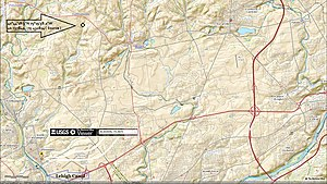 Catasauqua Creek - USGS source and mouth of Catasauqua Creek watercourse in Catasaugua, PA
