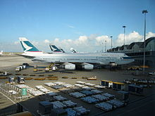 Cathay Pacific aircraft at Hong Kong International Airport