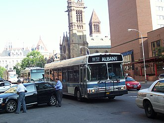 Capital District Transportation Authority - The former 35x bus route at State and Lodge Streets in Albany, July 2006.