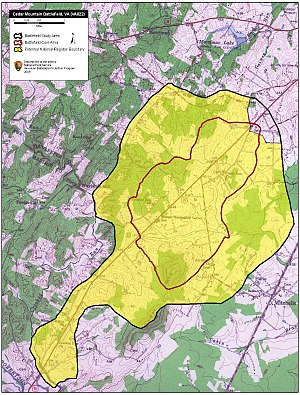 Battle of Cedar Mountain - Map of Cedar Mountain Battlefield core and study areas by the American Battlefield Protection Program.