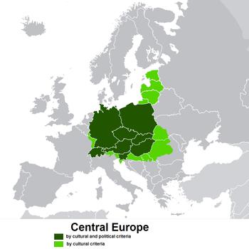 Centraleuropa enligt en snäv kulturellt och politiskt betingad och
