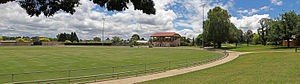 Stawell Gift - Central Park, Stawell, site of the Stawell Gift, with the historic grandstand in centre frame; the Gift is run diagonally across the oval, finishing to the right of the grandstand near the large tree