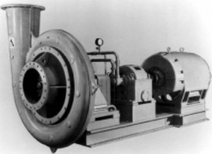 Centrifugal compressor - A low speed, low pressure centrifugal compressor or centrifugal fan, with upward discharging cone used to diffuse the air velocity