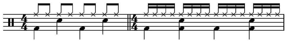 Characteristic rock and disco drum patterns