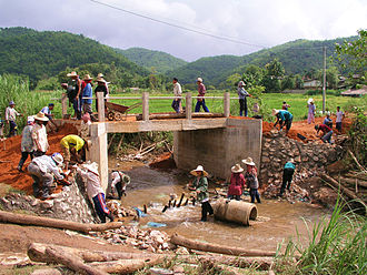 Chiang Rai Province - Construction  of a reinforced concrete bridge, Chiang Rai Province (2009)